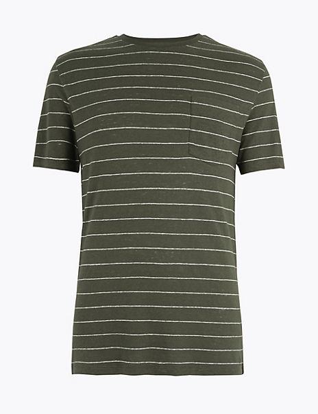 Linen Blend Striped T-Shirt