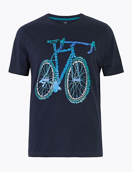 Pure Cotton Bike Print T-Shirt