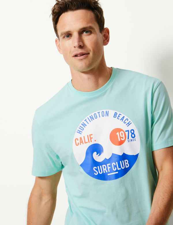 30329ca71237 Pure Cotton Printed Crew Neck T-Shirt