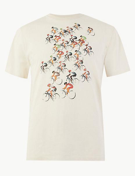 Pure Cotton Bike Print T-Shirt