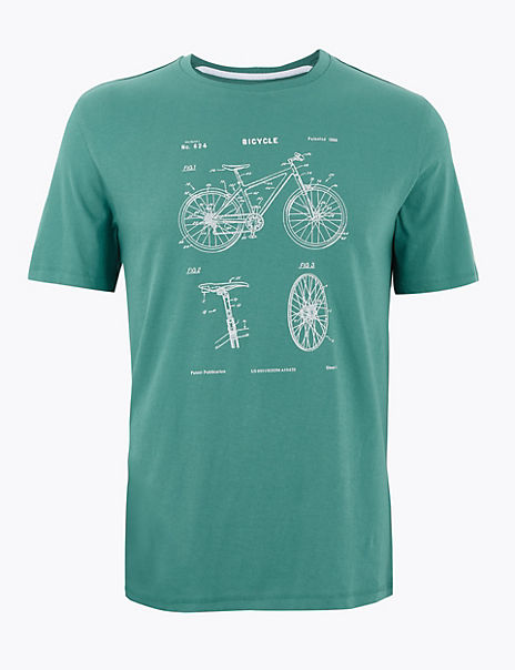 Pure Cotton Bike Design T-Shirt