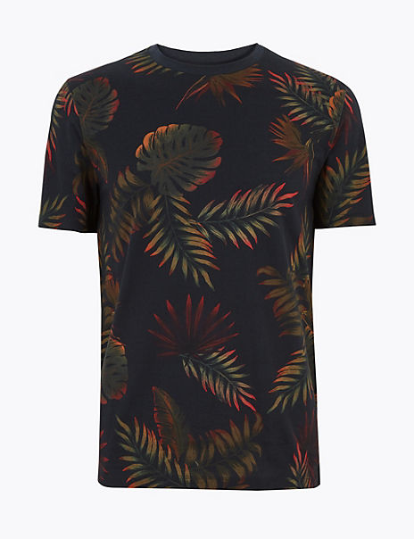 Pure Cotton Leaf Print T-Shirt