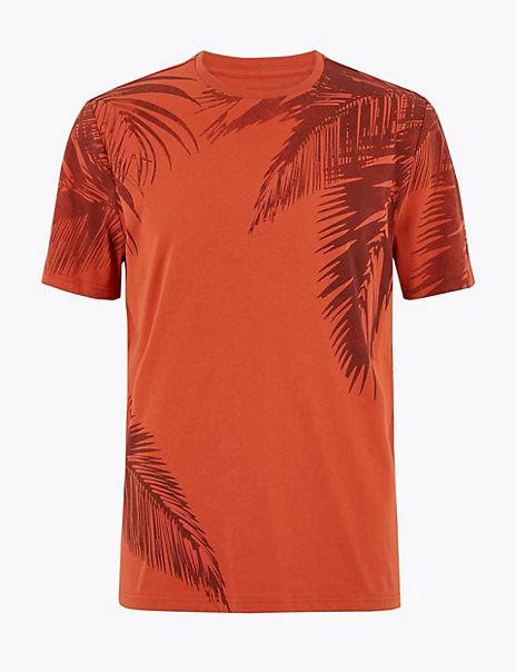 Pure Cotton Palm Print T-Shirt
