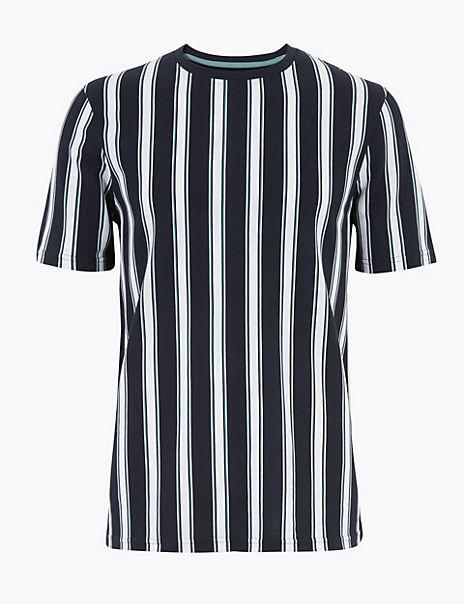 Pure Cotton Vertical Striped Pique T-Shirt