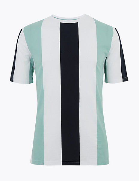 Pure Cotton Vertical Striped T-Shirt