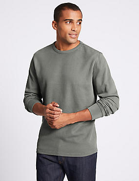Slim Fit Pure Cotton Sweatshirt, GREY, catlanding
