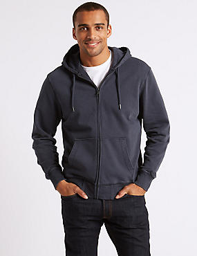 Pure Cotton Garment Dye Authentic Hooded Top, NAVY, catlanding