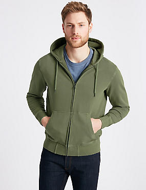 Pure Cotton Garment Dye Authentic Hooded Top, KHAKI, catlanding