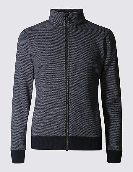 Tailored Fit Textured Fleece Jacket