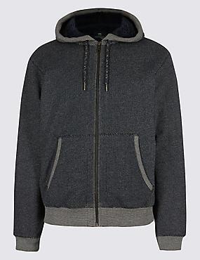 Zipped Through Fleece Jacket, DENIM MIX, catlanding