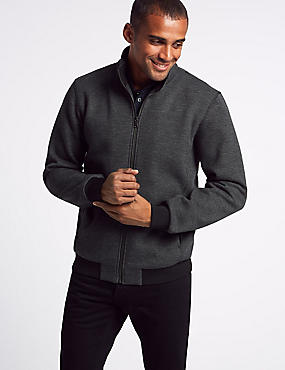 Cotton Rich Funnel Neck Zip Through