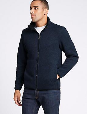 Funnel Neck Fleece Jacket with Stormwear™, NAVY MIX, catlanding