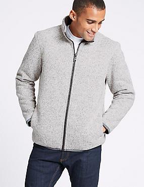 Funnel Neck Fleece Jacket with Stormwear™, ECRU MIX, catlanding