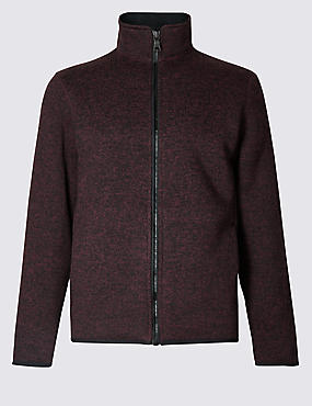 Funnel Neck Fleece Jacket with Stormwear™, BURGUNDY MIX, catlanding