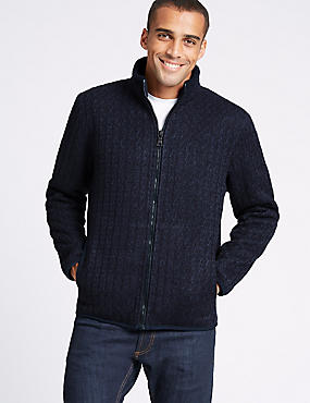 Cable Knit Zip Through Jacket with Stormwear™