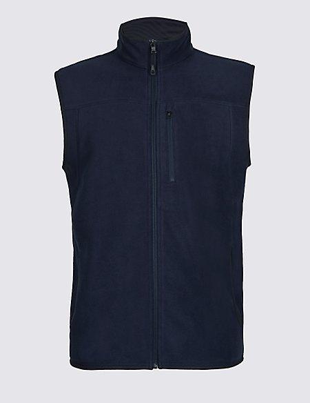 Textured Zipped Through Fleece Jacket