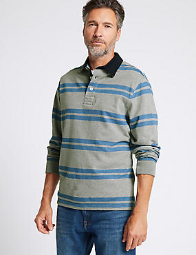 Pure Cotton Striped Rugby Top, GREY MIX, catlanding