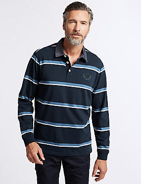 Pure Cotton Striped Rugby Top, NAVY, catlanding