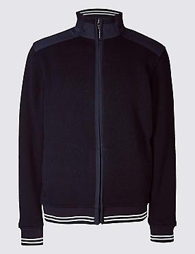 Zipped Through Fleece Jacket, NAVY, catlanding