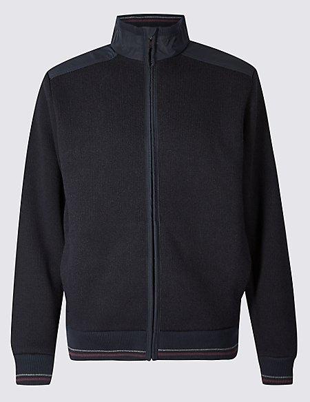Cotton Blend Textured Fleece Jacket with Stormwear™