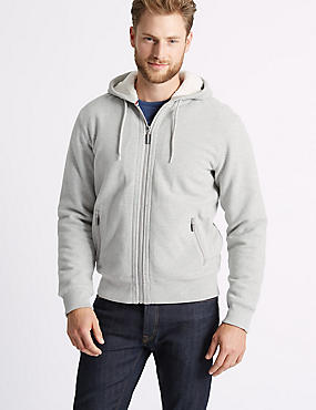 Fleece Lined Hoodie with Stormwear™ , GREY, catlanding