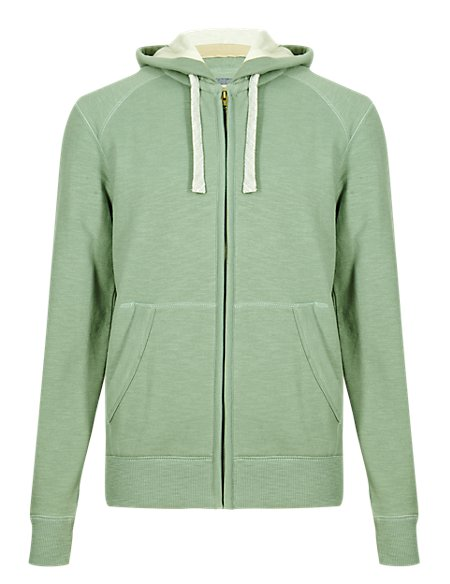 Cotton Rich Stay Soft Hooded Sweat Top