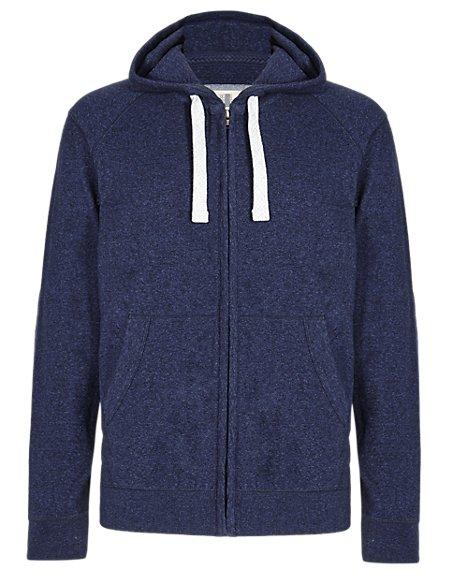 Pure Cotton Lightweight Zip Through Hooded Top