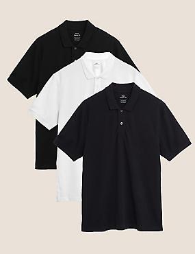 3 Pack Pure Cotton Polo Shirts