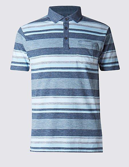 Cotton Rich Slim Fit Striped Polo Shirt