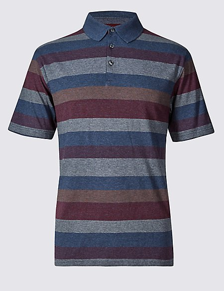 Regular Fit Pure Cotton Striped Polo Shirt