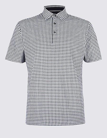Pure Cotton Checked Polo Shirt