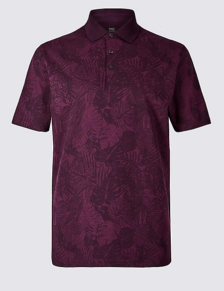 Pure Cotton Floral Print Polo Shirt