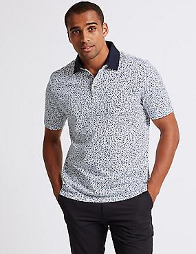 Pure Cotton Printed Polo Shirt