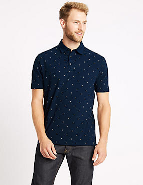 Pure Cotton Spotted Polo Shirt