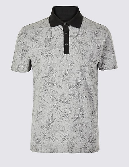 Slim Fit Pure Cotton Floral Print Polo Shirt