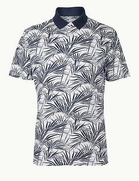 Pure Cotton Palm Leaf Print Polo Shirt