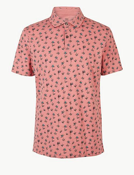 Pure Cotton Leaf Print Polo Shirt