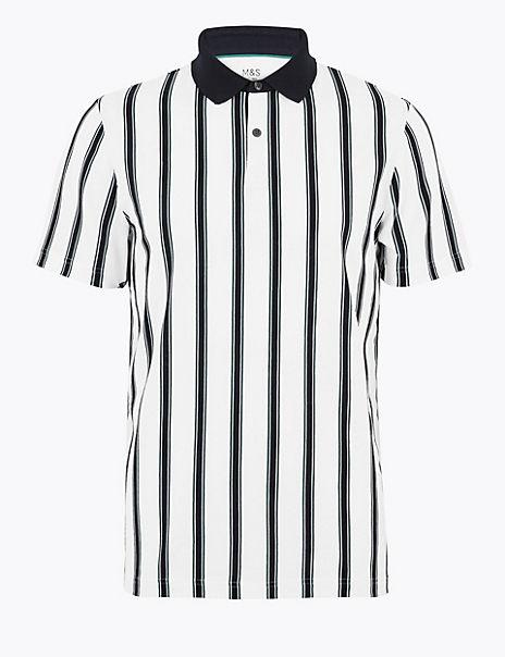 Pure Cotton Vertical Striped Polo Shirt