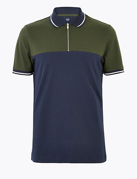 Pure Cotton Half Zip Polo Shirt