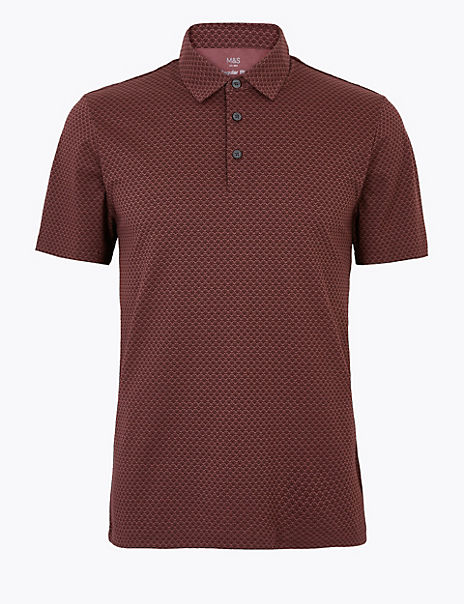 Pure Cotton Geometric Print Polo Shirt