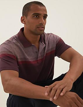 قميص بولو محبوك بخطوط مزدوجة من القطن الصافي