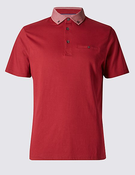 Tailored Fit Printed Collar Polo Shirt