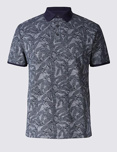 6001d2ae4a Pure Cotton Floral Print Polo Shirt