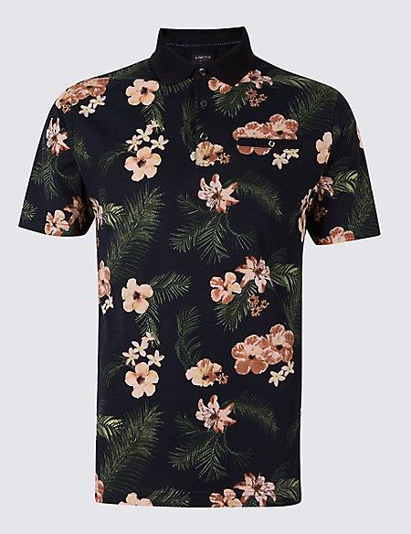 Slim Fit Pure Cotton Floral Design Polo Shirt