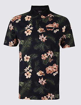 Slim Fit Pure Cotton Floral Design Polo Shirt