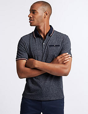 Slim Fit Cotton Rich Textured Polo shirt