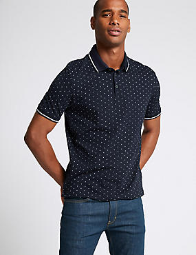Slim Fit Pure Cotton Spotted Polo Shirt