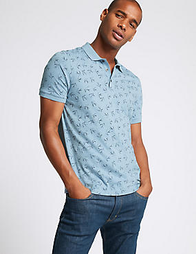 Slim Fit Pure Cotton Bird Print Polo Shirt