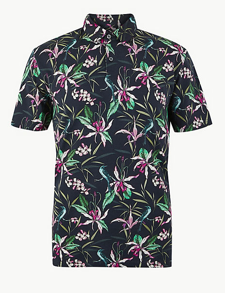 Pure Cotton Printed Polo Shirt