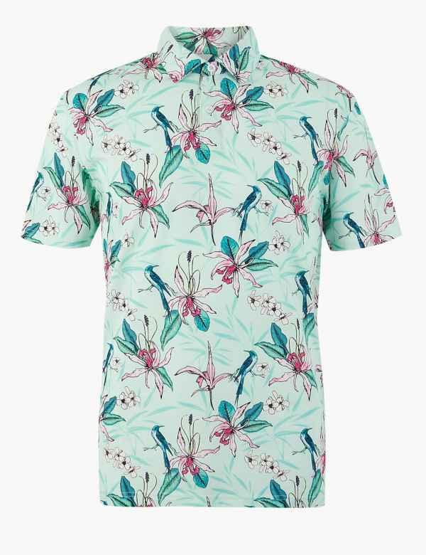 04b3eaeebbce Pure Cotton Printed Polo Shirt. New